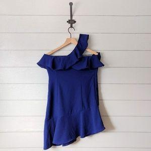 LULU'S Blue Ruffle Shoulder Asymmetrical Dress M